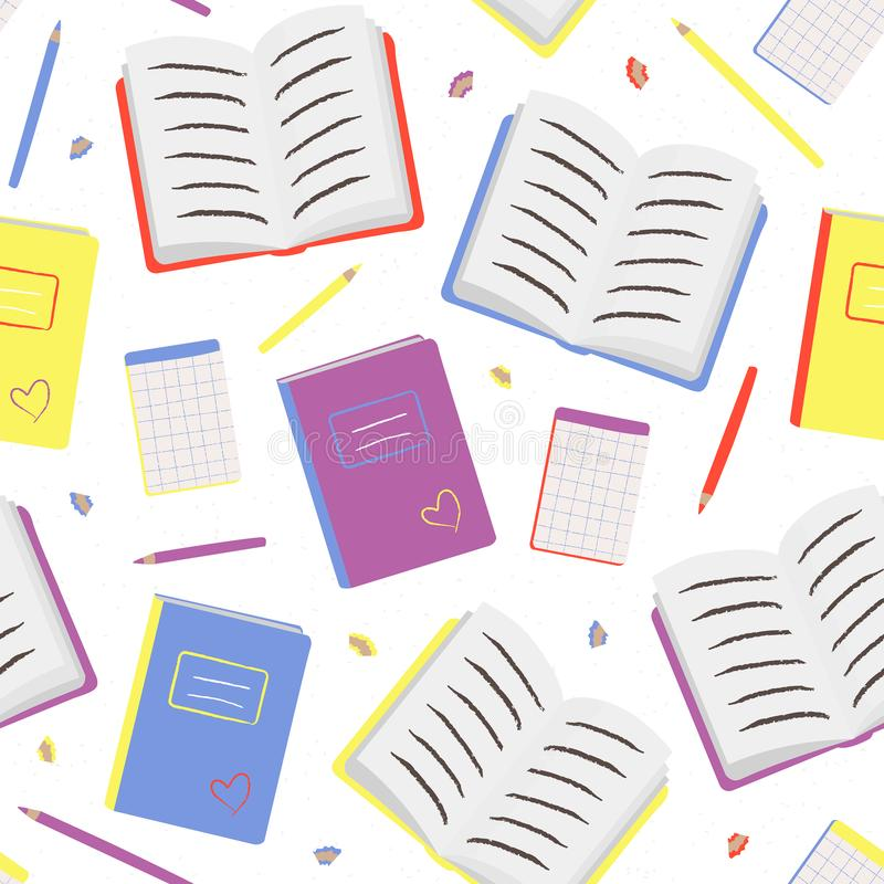 Kleurrijk naadloos patroon met boeken en potlood stock illustratie