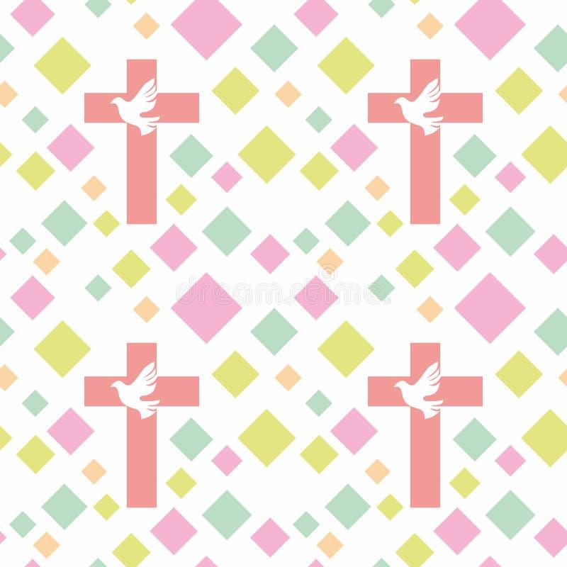 Kleurrijk naadloos patroon met Christelijke symbolen Bijbel, kerk en godsdienstige elementen vector illustratie