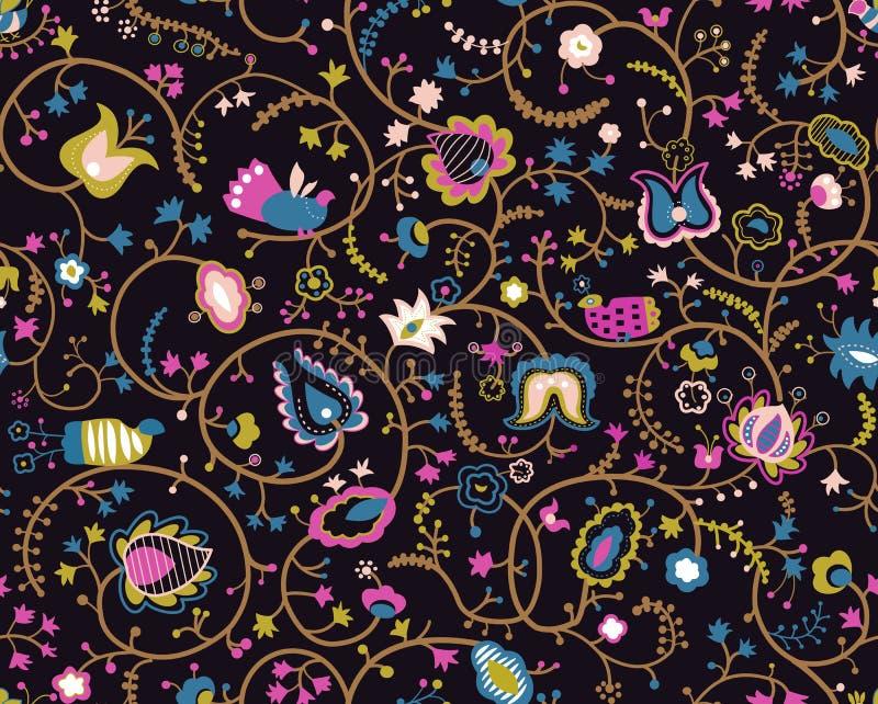 Kleurrijk naadloos patroon met decoratieve vogels en bloemen royalty-vrije illustratie