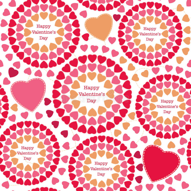 Kleurrijk naadloos patroon met harten, de dag van Gelukkig Valentine stock illustratie