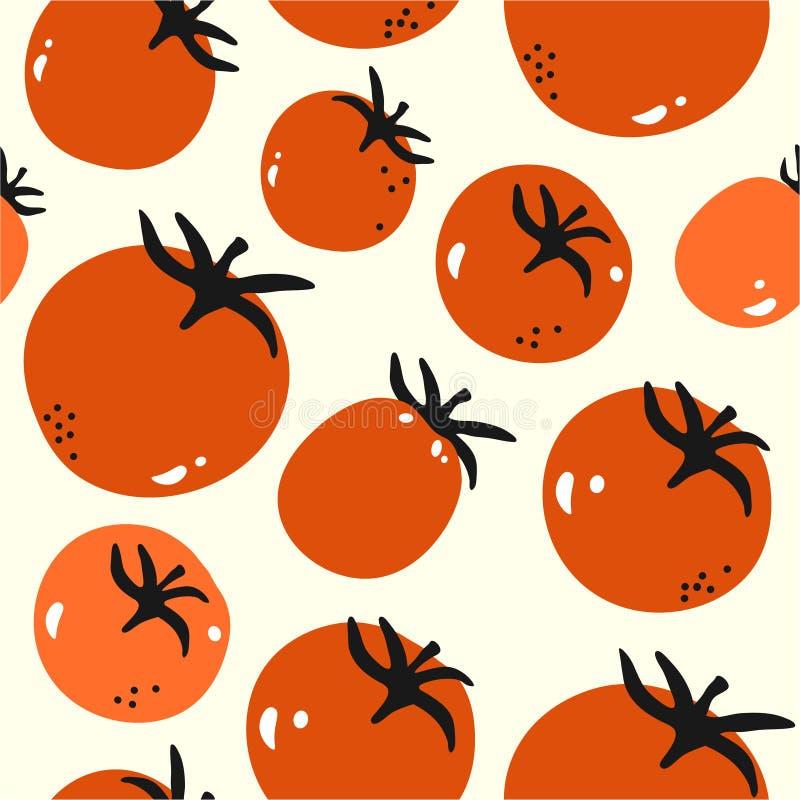 Kleurrijk naadloos patroon met rijpe tomaten Decoratieve achtergrond met groenten royalty-vrije illustratie