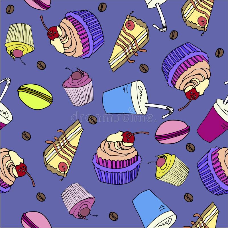 Kleurrijk naadloos patroon met snoepjeskrabbel vector illustratie