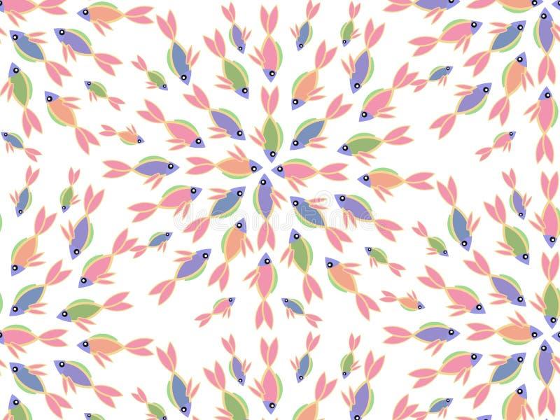 Kleurrijk Naadloos Patroon met Vissen royalty-vrije illustratie