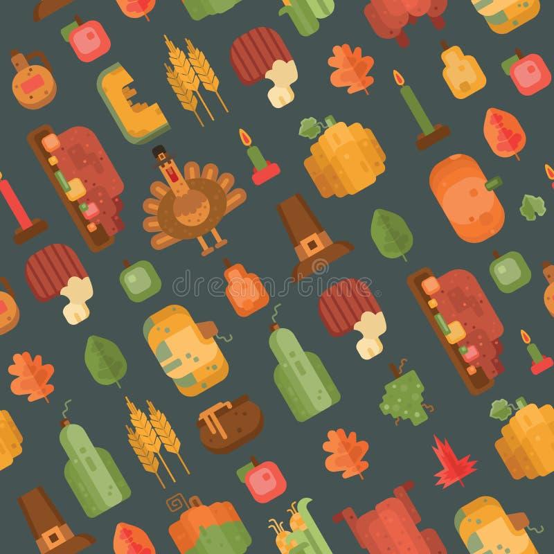 Kleurrijk naadloos patroon met vlakke geometrische pictogrammen voor Thanksgiving day op grijze achtergrond royalty-vrije illustratie