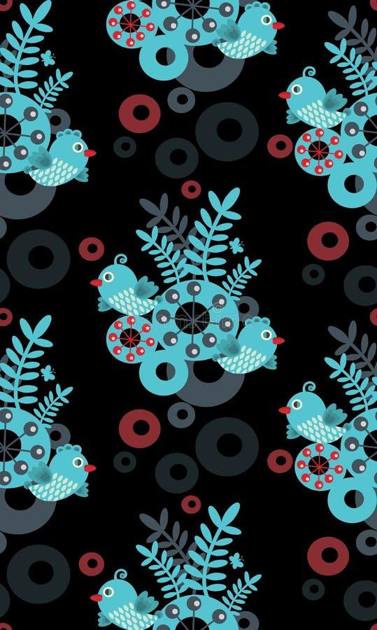 Kleurrijk naadloos patroon met vogels. stock illustratie