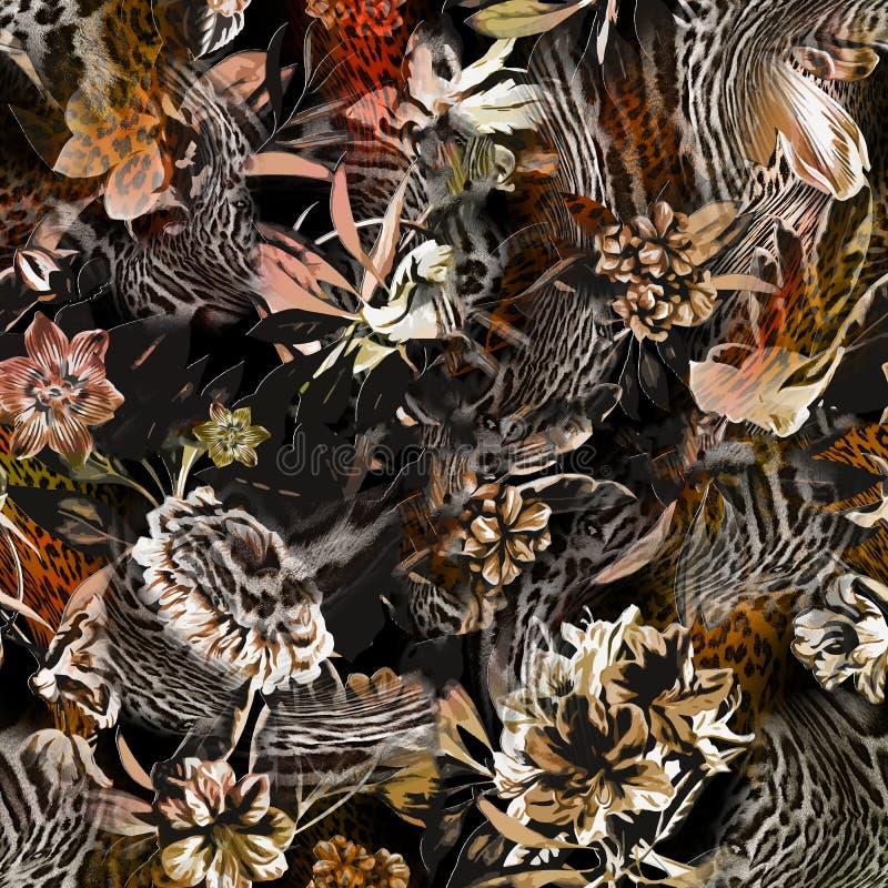 Kleurrijk naadloos patroon met wilde Luipaarden vector illustratie