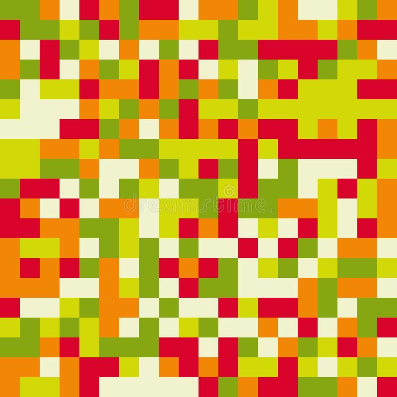 Kleurrijk naadloos patroon in pixelstijl met 8 bits in heldere kleuren royalty-vrije illustratie
