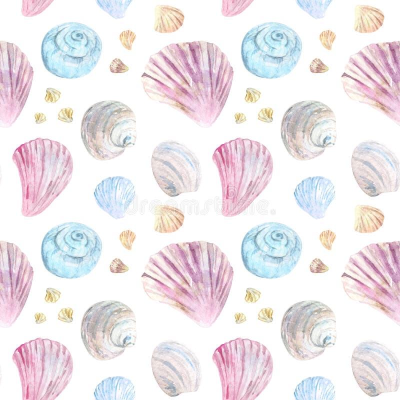 Kleurrijk naadloos shell patroon stock illustratie