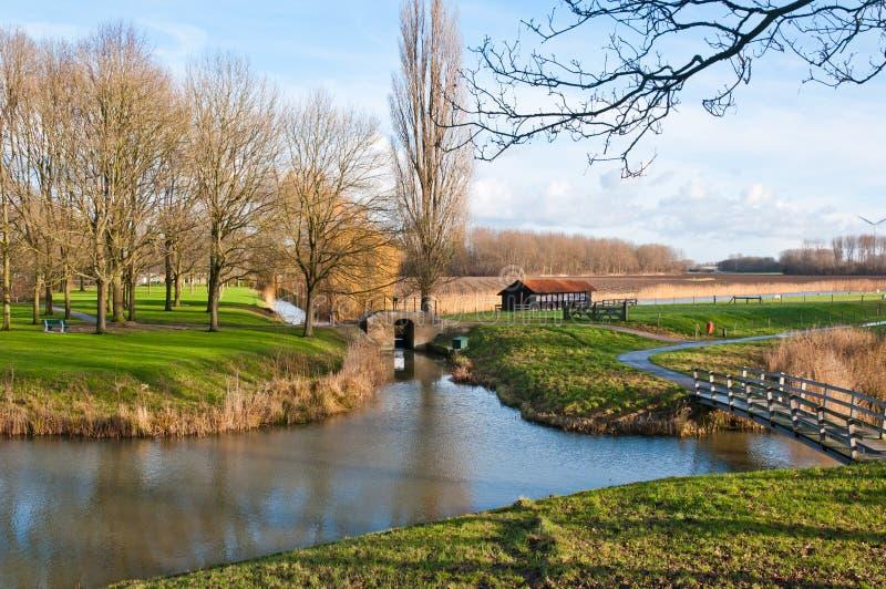 Kleurrijk Nederlands landschap in de herfst royalty-vrije stock fotografie