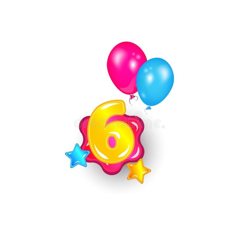 Kleurrijk nummer zes onder sterren en ballons vector geïsoleerde illustratie royalty-vrije illustratie