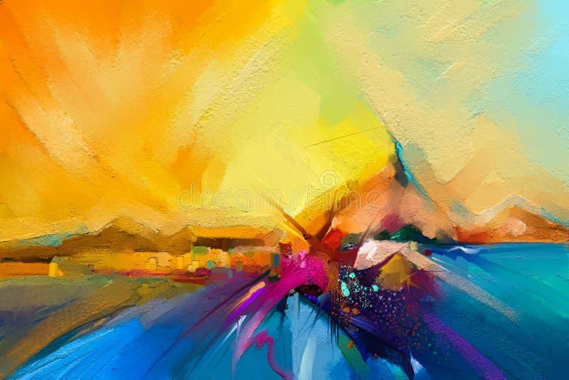 Kleurrijk olieverfschilderij op canvastextuur Semi abstract beeld van zeegezichtschilderijen royalty-vrije illustratie