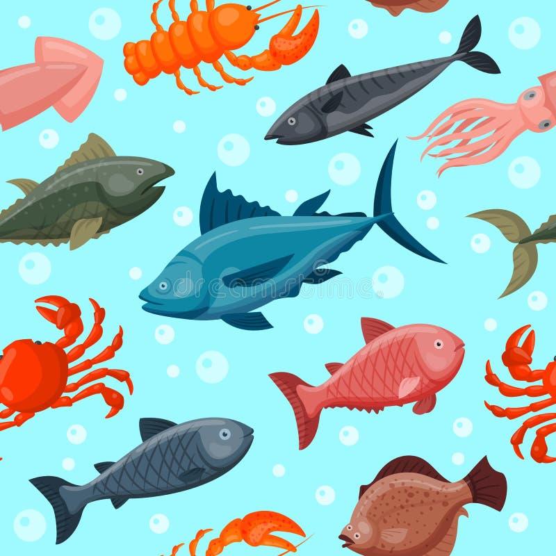 Kleurrijk onder de dierenbehang van de waterwereld met vissen, octopus, seahorse zeester en anderen oceaanaardwater stock illustratie
