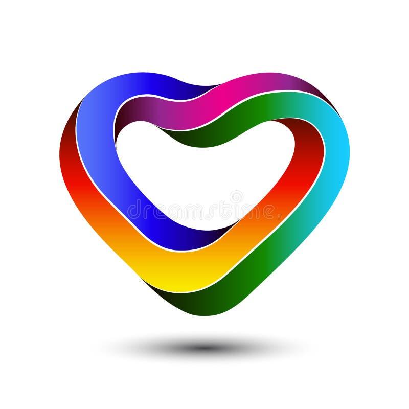 Kleurrijk onmogelijk het malplaatjeontwerp van het hartembleem De dagconcept van de valentijnskaart ` s royalty-vrije illustratie