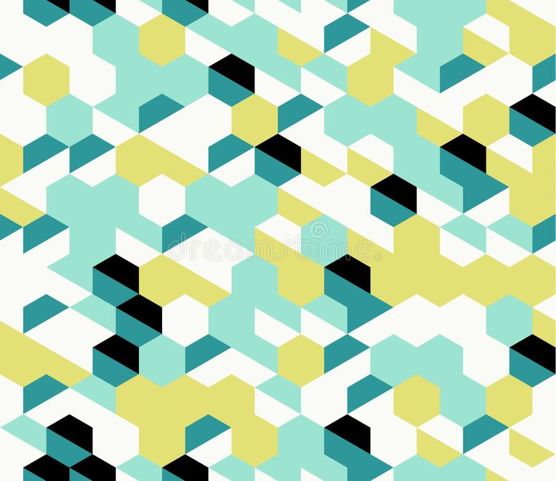 Kleurrijk onregelmatig vector abstract geometrisch naadloos patroon met zeshoeken royalty-vrije illustratie