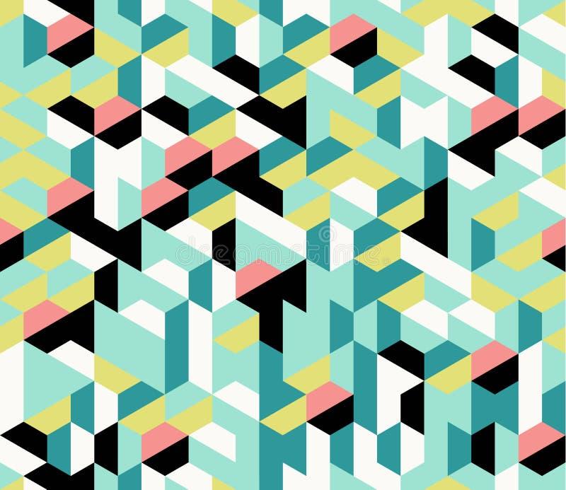Kleurrijk onregelmatig vector abstract geometrisch naadloos patroon met zeshoeken vector illustratie