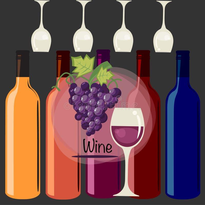 Kleurrijk ontwerp met flessen en glazen royalty-vrije illustratie
