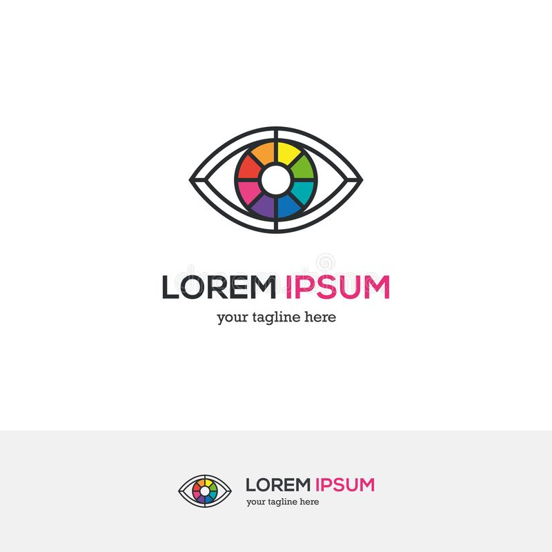 Kleurrijk oogembleem die als een kleurenwiel kijken stock illustratie