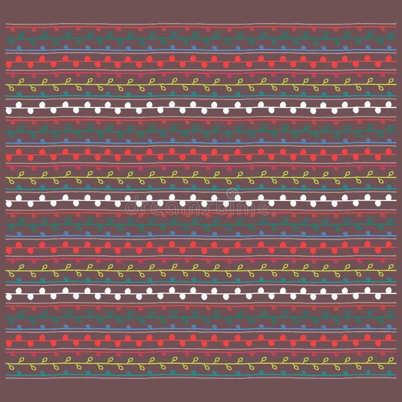 Kleurrijk ornament, bruine witte rode gele blauwgroene vector endl stock illustratie