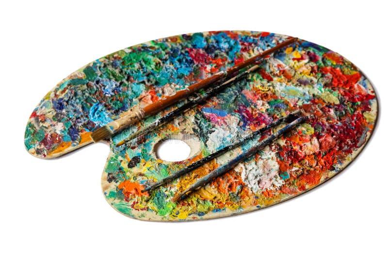 Kleurrijk palet op een witte achtergrond stock foto