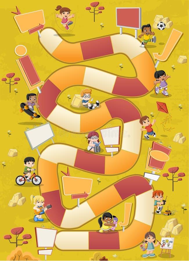 Kleurrijk park met beeldverhaalkinderen het spelen royalty-vrije illustratie