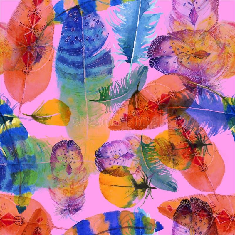 Kleurrijk patroon dat met veren wordt gemaakt stock illustratie