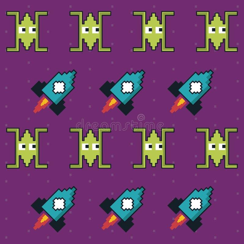 Kleurrijk patroon van ruimteschepen en rakettenspel vector illustratie