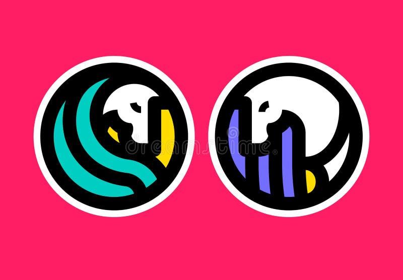 Kleurrijk pictogram of embleemmalplaatje van paard Kleurrijk pictogram of embleemmalplaatje van paard Reeks van twee emblemen, st royalty-vrije illustratie
