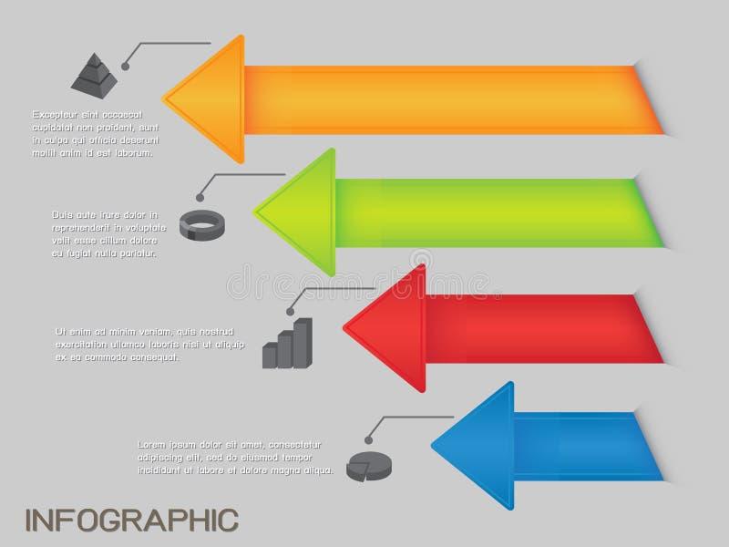 Kleurrijk Pijlendiagram Infographic stock illustratie