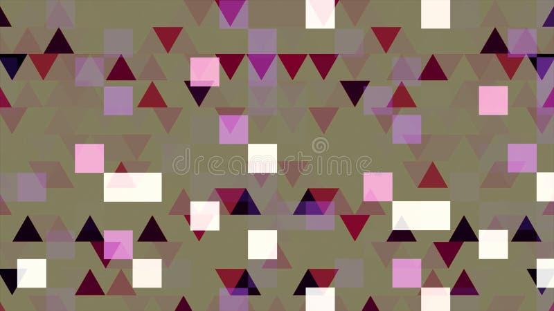 Kleurrijk pixelated animatie met het knipperen van driehoeken en vierkanten, naadloze lijn animatie Geometrisch flikkeren royalty-vrije illustratie