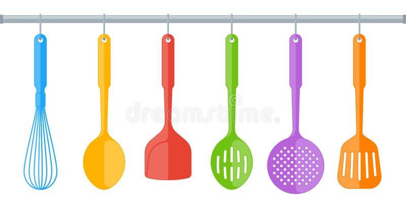 Kleurrijk plastic die keukengerei op witte achtergrond wordt geïsoleerd royalty-vrije illustratie