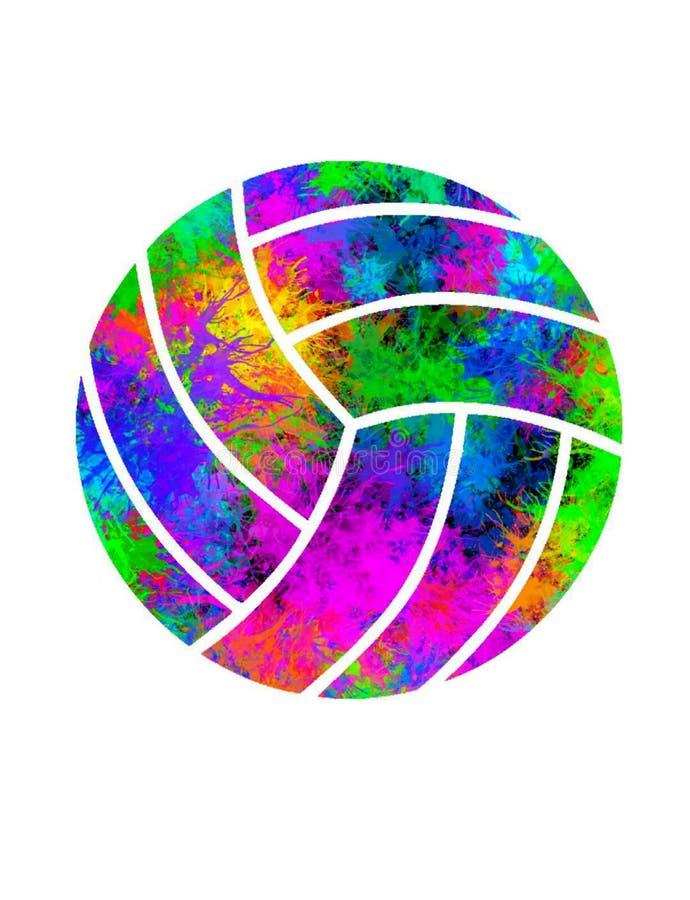 Kleurrijk ploeter Volleyball met Witte Achtergrond stock illustratie
