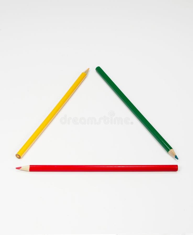 Kleurrijk Potlodenkader als Driehoek stock afbeeldingen