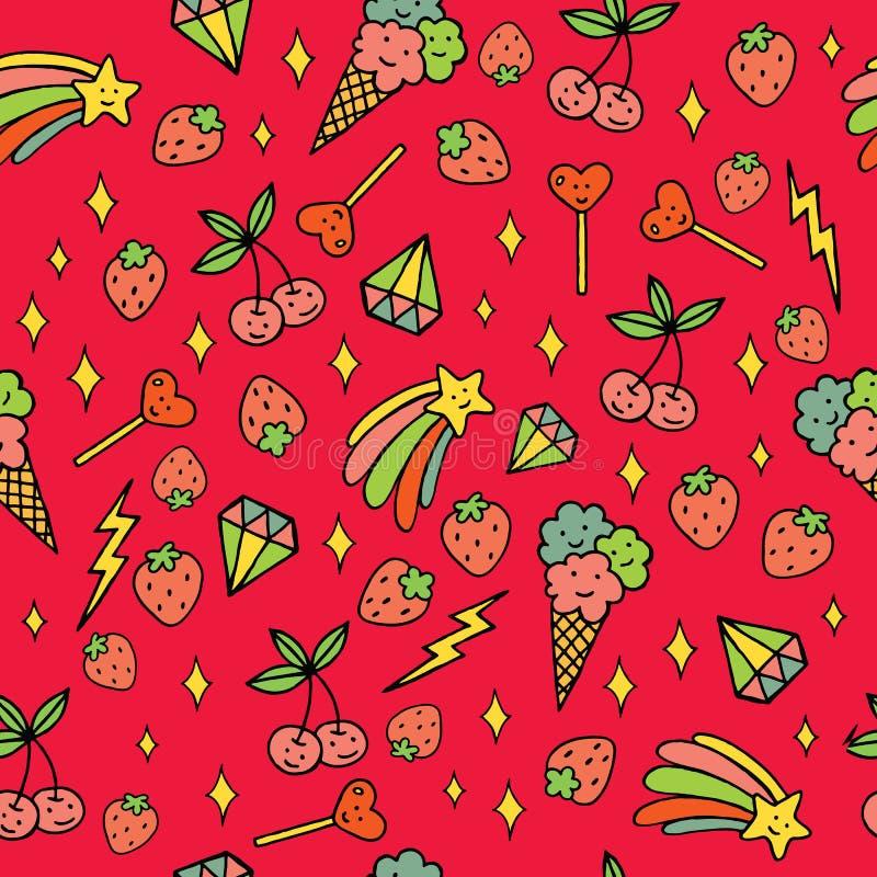 Kleurrijk psychedelisch krabbelpatroon met aardbeien, sterren, roomijs enz. De naadloze achtergrond van de krabbel Vector art royalty-vrije illustratie