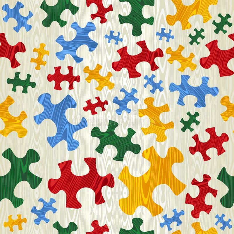 Kleurrijk raadsel naadloos patroon in houten textuur royalty-vrije illustratie