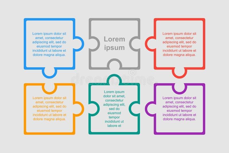 Kleurrijk Raadsel Zes Stukken van Infographic Zes stappen vector illustratie