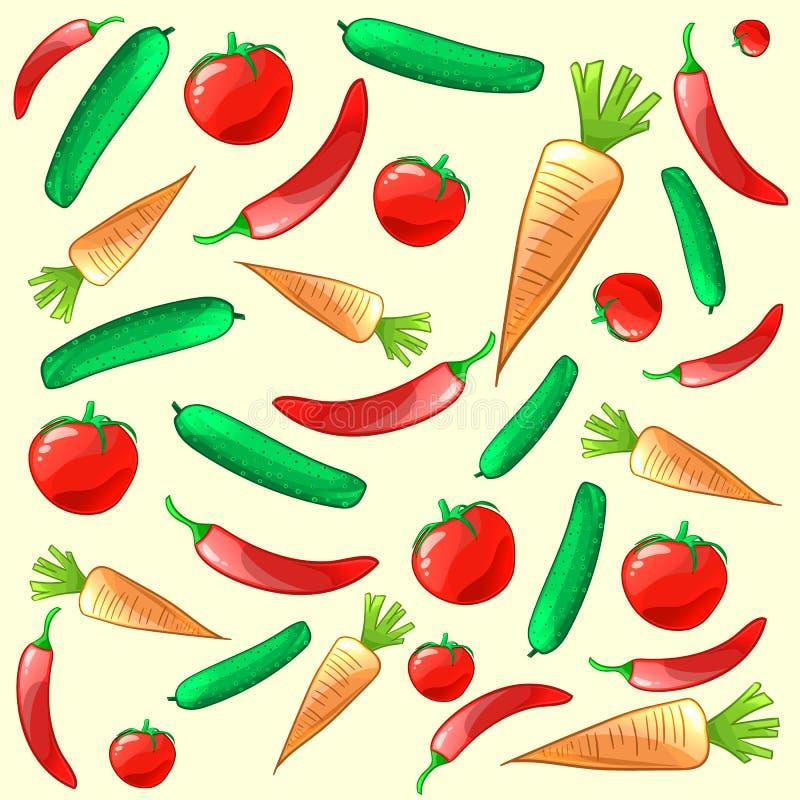 Kleurrijk rijp verse groentenpatroon Het kan voor prestaties van het ontwerpwerk noodzakelijk zijn vector illustratie