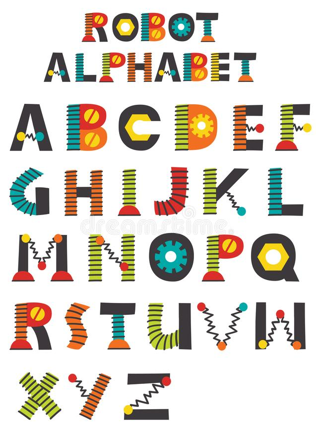 Kleurrijk robot Engels alfabet vector illustratie