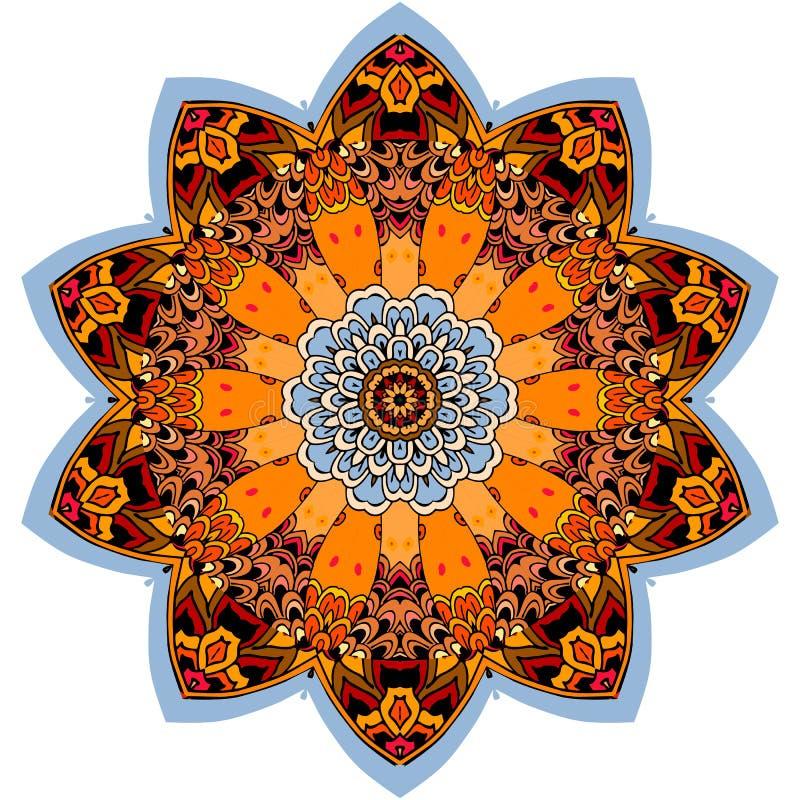Kleurrijk rond etnisch patroon in vorm van mandalabloem royalty-vrije illustratie