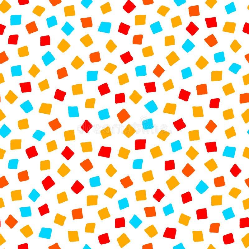 Kleurrijk rood oranjegeel blauw vierkant vorm geometrisch naadloos patroon, vector stock illustratie
