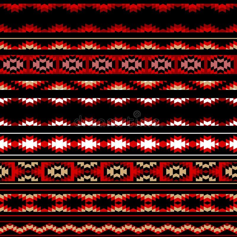 Kleurrijk rood wit en zwart Azteeks gestreept ornamenten geometrisch etnisch naadloos patroon, vector royalty-vrije illustratie