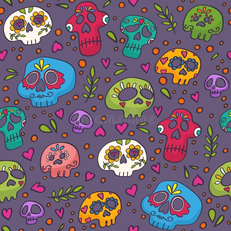 Kleurrijk schedels naadloos patroon voor textiel, het verpakken, stof, behang en andere oppervlakten Heilige Doodstextuur stock illustratie