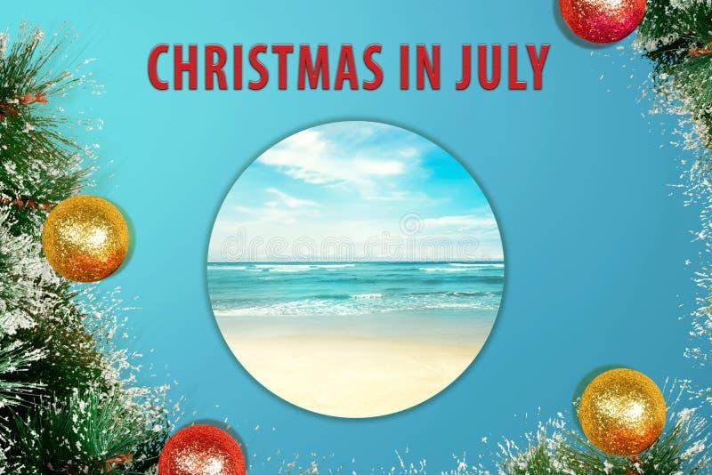 Kleurrijk schitter decoratie op Kerstmis in Juli stock afbeeldingen