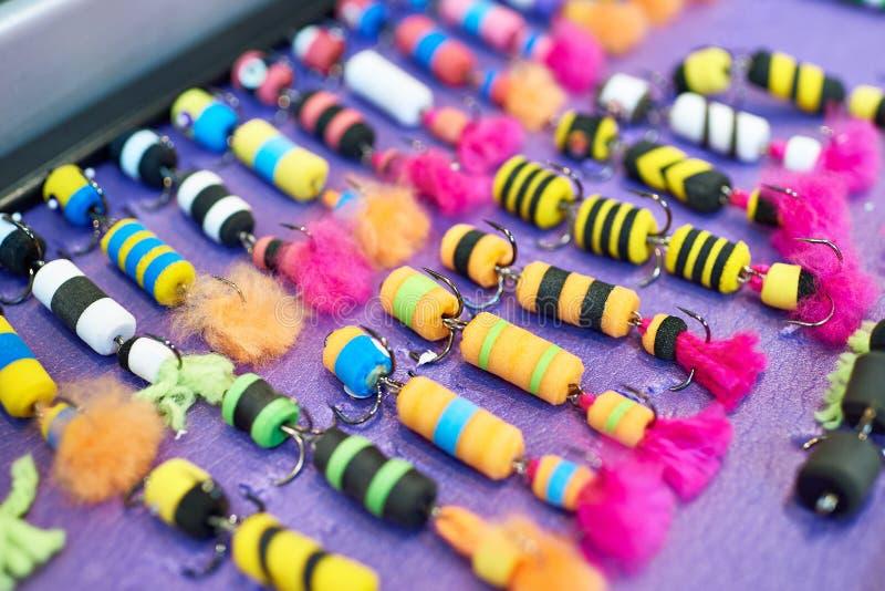 Kleurrijk schuimrubberaas in de visserij van winkel stock afbeelding