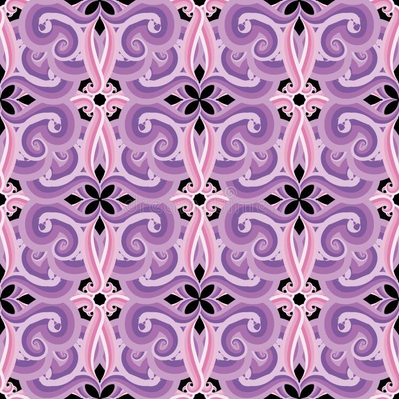 Kleurrijk sier bloemen vector naadloos patroon Achtergrond van elegantie de roze violette arabesque Uitstekende Arabische etnisch vector illustratie