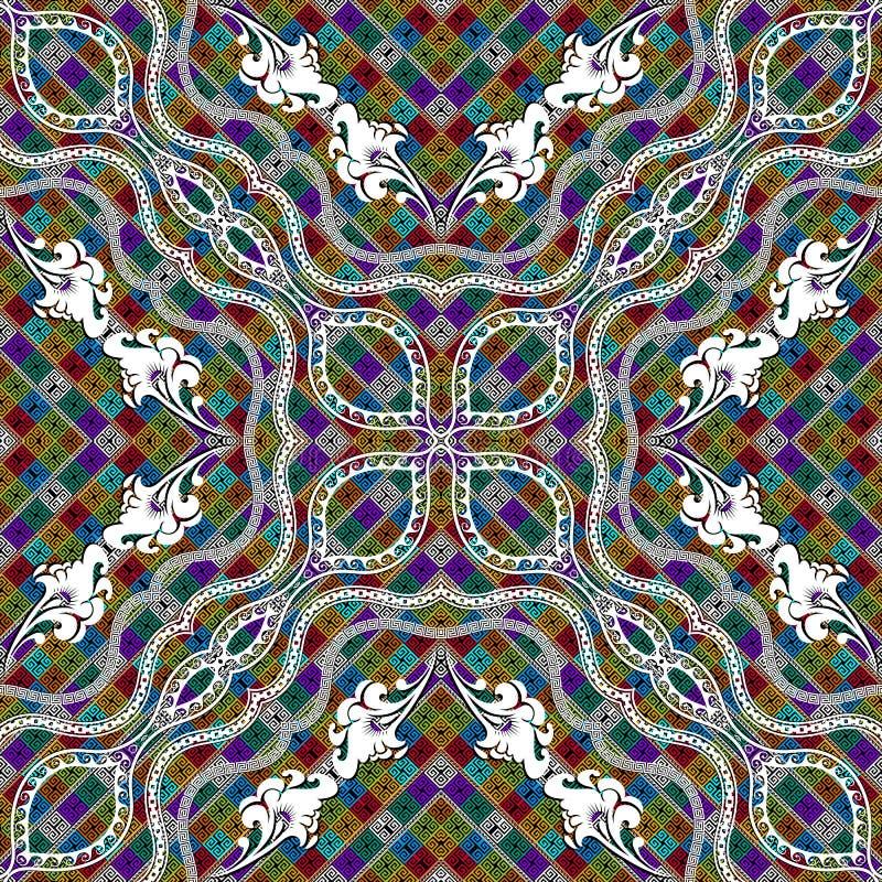 Kleurrijk sier Grieks naadloos patroon Vector geometrische achtergrond De etnische stijl herhaalt achtergrond Bloemen heldere sam royalty-vrije illustratie