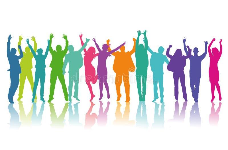 Kleurrijk silhouet van gelukkige mensen vector illustratie