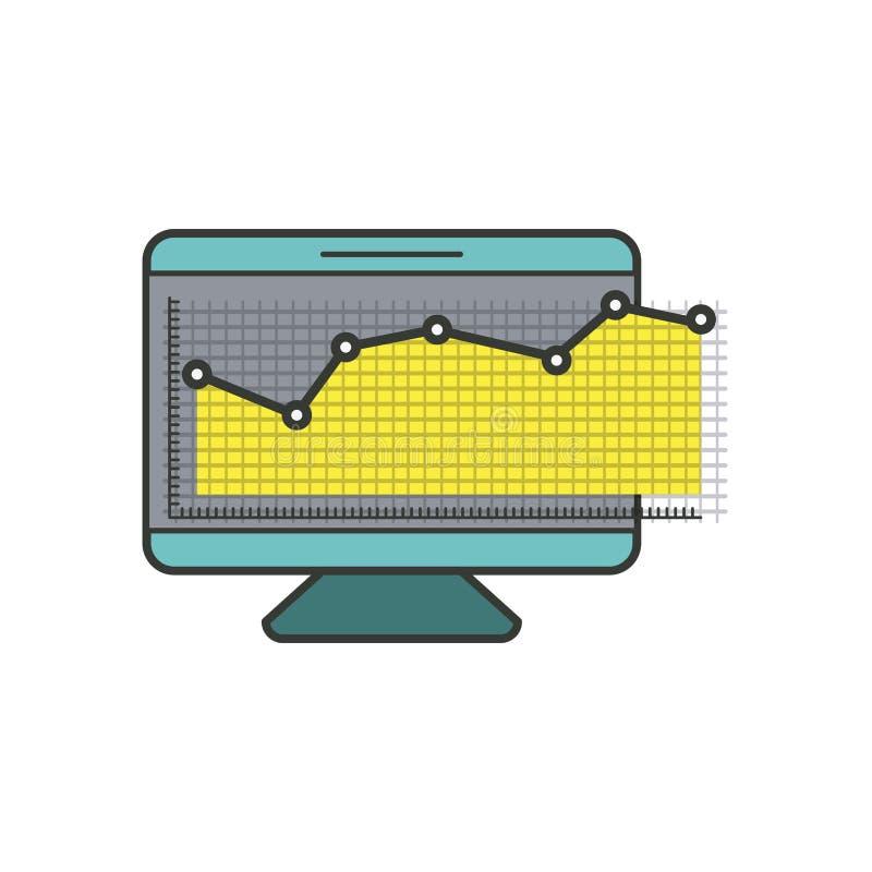 Kleurrijk silhouet van grafische het schermmonitor en financieel risico royalty-vrije illustratie