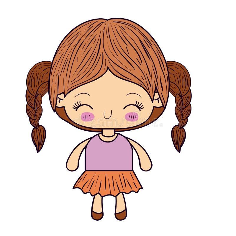 Kleurrijk silhouet van kawaiimeisje met gevlecht haar en gelaatsuitdrukkinggeluk met gesloten ogen vector illustratie