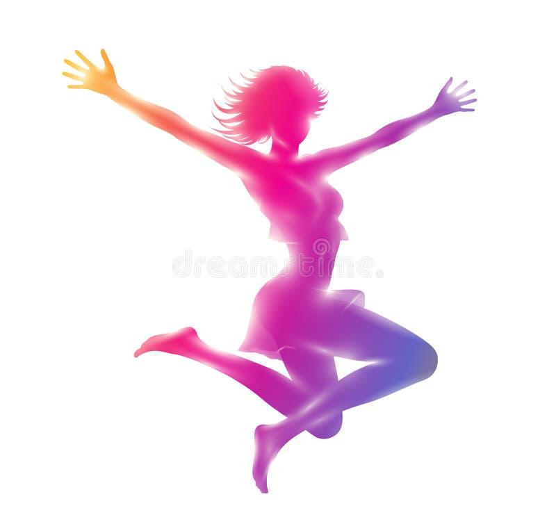 Kleurrijk silhouet van slanke meisje het springen handen omhoog vector illustratie