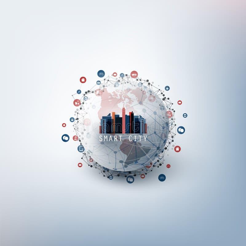 Kleurrijk Smart City-Ontwerpconcept vector illustratie